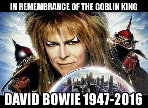 In remembrance of the Goblin King. RIP David Bowie. Will definitely be watching Labyrinth today or tomorrow.