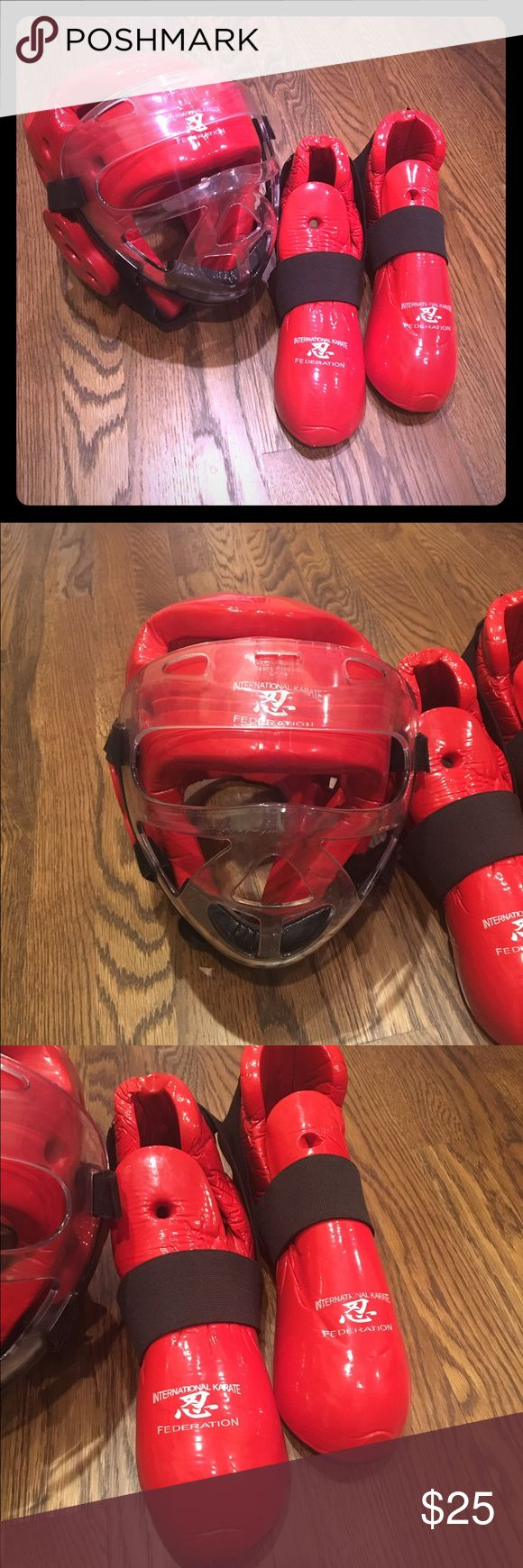 Karate Sparring Gear Karate Sparring Gear. Red. Head guard with removable face shield and foot covers. International Karate Federation. Adult or larger child. Other