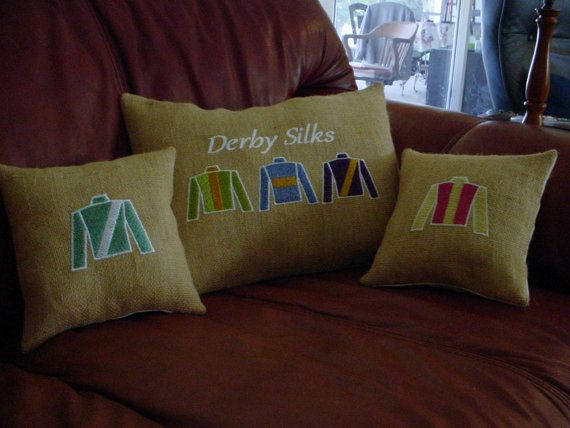 KENTUCKY DERBY BURLAP  Pillows by peacefullysewn on Etsy, $12.00
