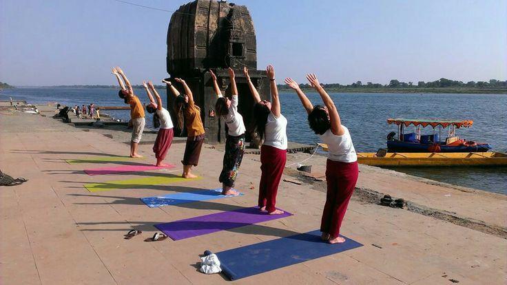 Yoga near the river narmada