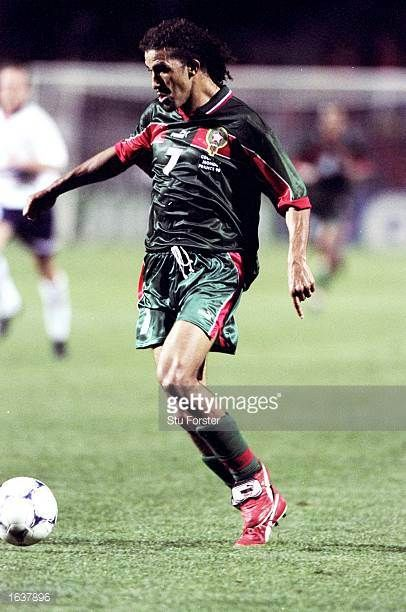 Moustafa El Hadji of Morocco in action during the World Cup first round match against Norway at the Stade de la Mosson in Montpellier France The...
