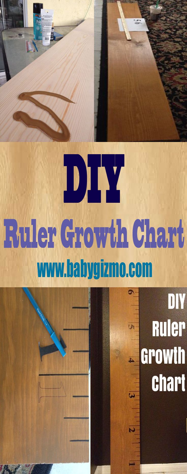 Step-by-Step directions to make a DIY Ruler Growth Chart! #DIY #KidsRoom #BabyGizmo