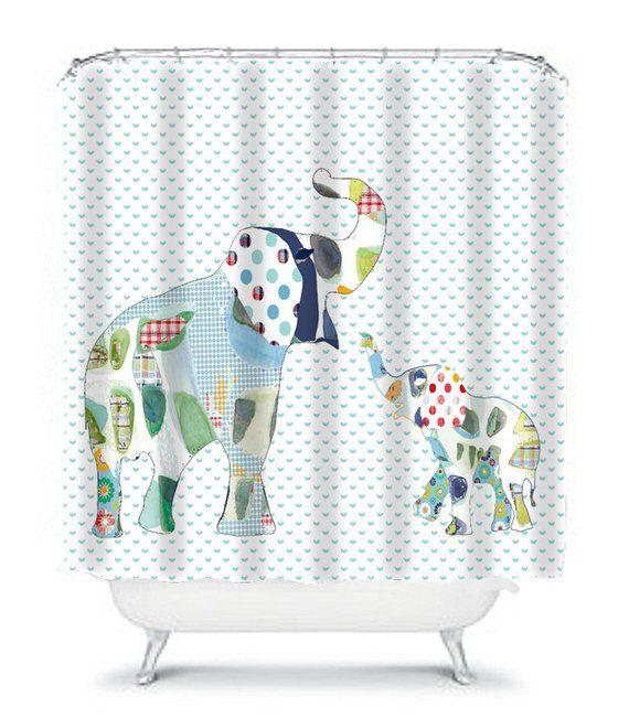 Elephant Shower Curtain Kids Shower Curtain Elephant Bathroom