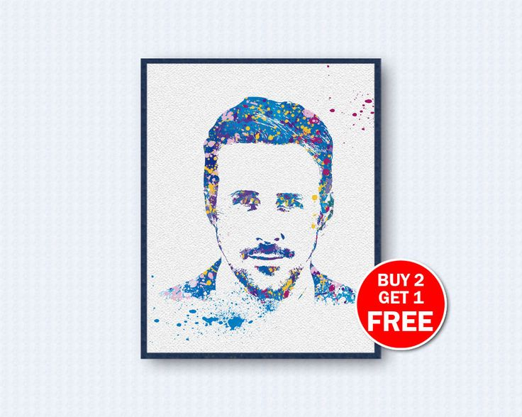 Ryan Gosling Poster, Ryan Gosling Watercolor, Movie Poster, Movie Watercolor, Watercolor Art, Wall Decor, Home Decor by TheWoodenKat on Etsy