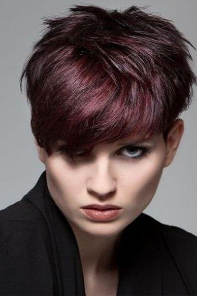 Red Purple Pixie Cut I Love This Color Cute Hair