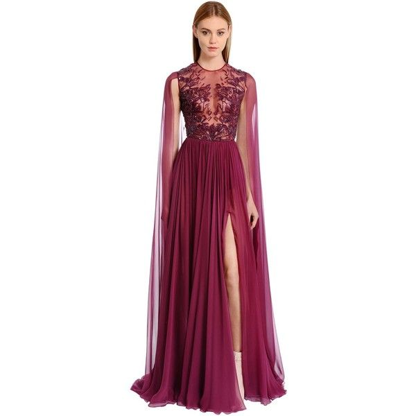 Zuhair Murad Women Embellished Silk Chiffon Gown (£5,855) ❤ liked on Polyvore featuring dresses, gowns, purple, beaded evening gowns, purple evening dresses, sequin evening gowns, floor length gowns and sequin evening dresses