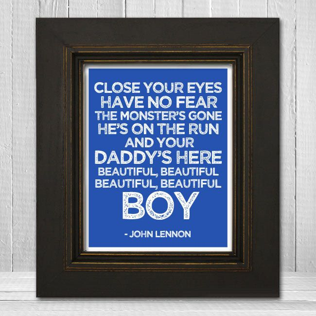 John Lennon Song Lyrics Print 11x14 - Beautiful Boy Nursery Print - John Lennon Music Art Print - Father's Day Gift. $23.00, via Etsy.