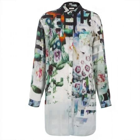 Paul Smith Shirts - Floral Stripe Print Oversized Shirt Dress