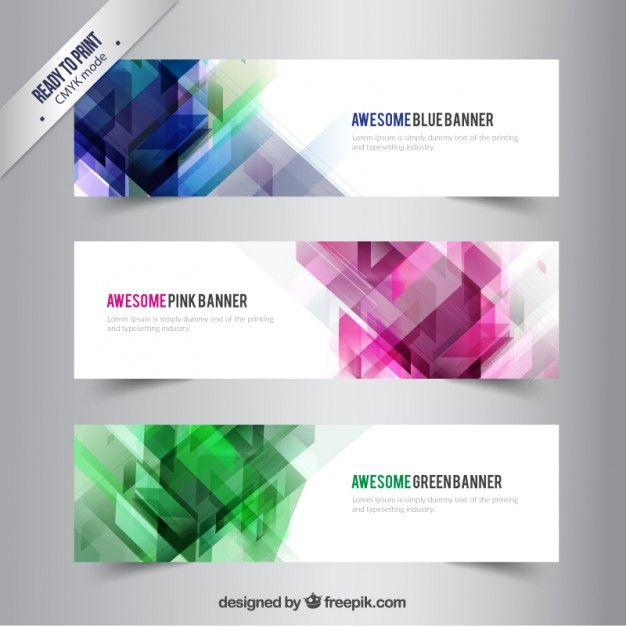 Banners with abstract shapes Vector | Free Download