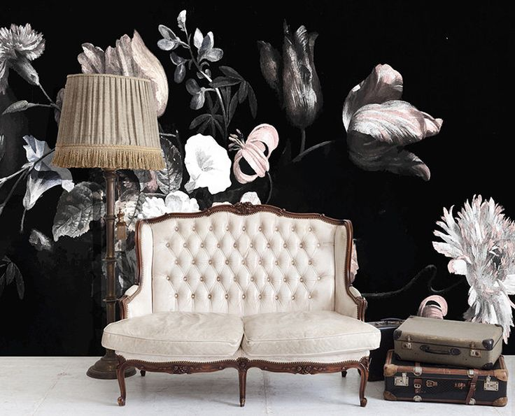 """Natura morta fiori illustrazione, scuro murale floreale, carta da parati floreale - 108 """"x 60"""" di anewalldecor su Etsy https://www.etsy.com/it/listing/208996992/natura-morta-fiori-illustrazione-scuro"""