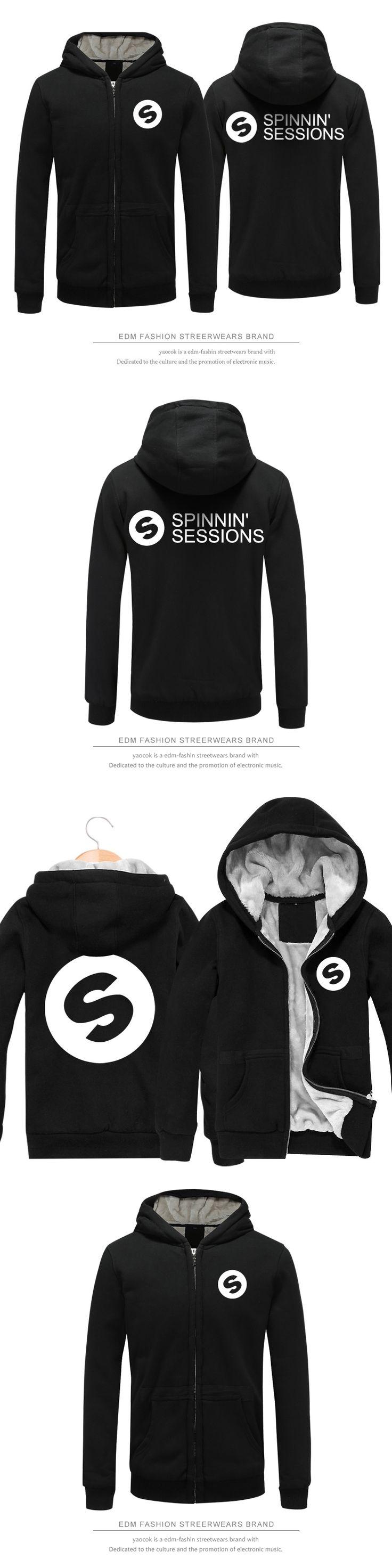 2017 Spinnin Records Series Winter Hoodies Clothes Zipper Cap Hoodies Men/Women Thick Warm Sweatshirt Plus Size DIY Printing