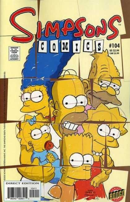 The blocks put themselves together, shows as a picture, the Simpson family for the very first time.
