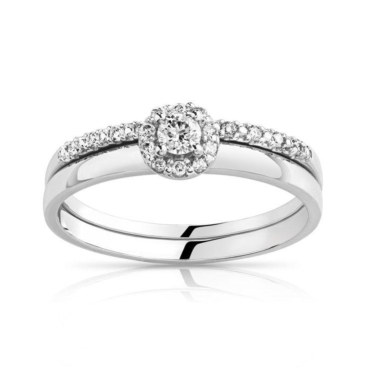 Duo alliance demi-tour solitaire or 750 blanc diamant - Femme - Solitaire | Bijoux sur internet - MATY