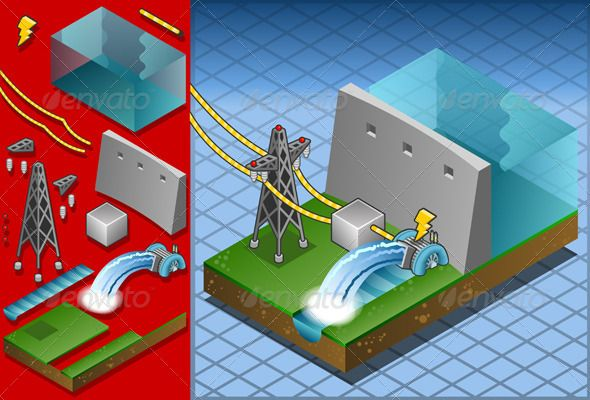Isometric Hydropower Watermill Produce Energy