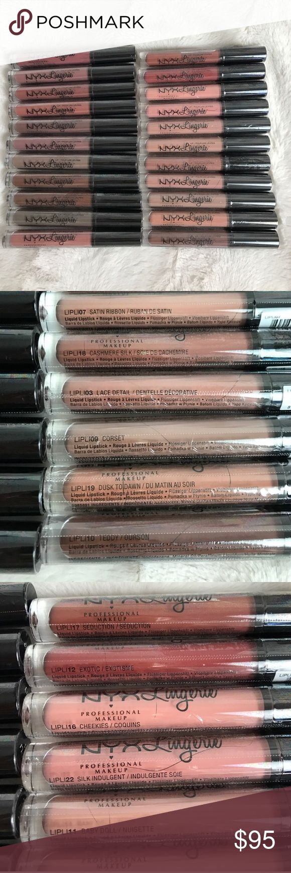 NEW SEALED NYX LINGERIE LIQUID LIPSTICK PUSH UP Ended up trying one of these (not pictured) and the formula was not for me so I'm listing the rest. Willing to split in smaller lots just comment which colors you want and I can set up a separate listing for you and let you know the price. These are all brand new and sealed. (Found one extra in my pile so there are 23 shades total - didn't wanna set up the shot again so I just added pics) NYX Cosmetics Makeup Lipstick