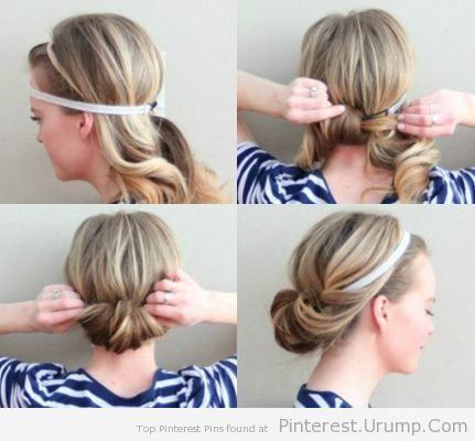 Do this all the time. Easiest hairstyle ever. I curl mine before I style it though – makes it so much easier to flip into the headband,