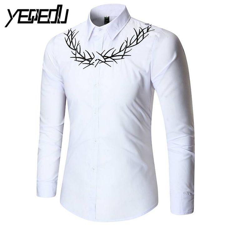 #1132 Spring 2017 Slim fit Men shirt long sleeve Camisa social Embroidery  European size White