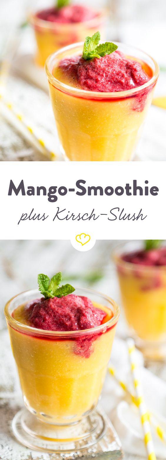 Slushy oder Smoothie? Hier hast du beides auf einmal! Eine leckere, fruchtige und gesunde Abkühlung mit Mango und Kirschen für den Sommer.