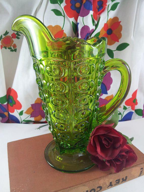 Viking Glass Bullseye Pitcher Midcentury Green Emerald