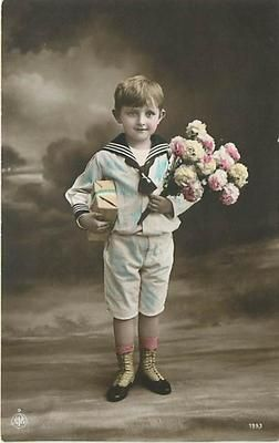 Tinted Photo Little Boy In Sailor Suit