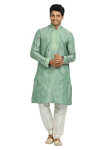 Saris and Things Aquamarine Cotton Linen Indian Wedding Kurta Pajama for Men - 42 Saris and Things http://www.amazon.com/dp/B00XCZKEQA/ref=cm_sw_r_pi_dp_TGWexb1WBH4XD