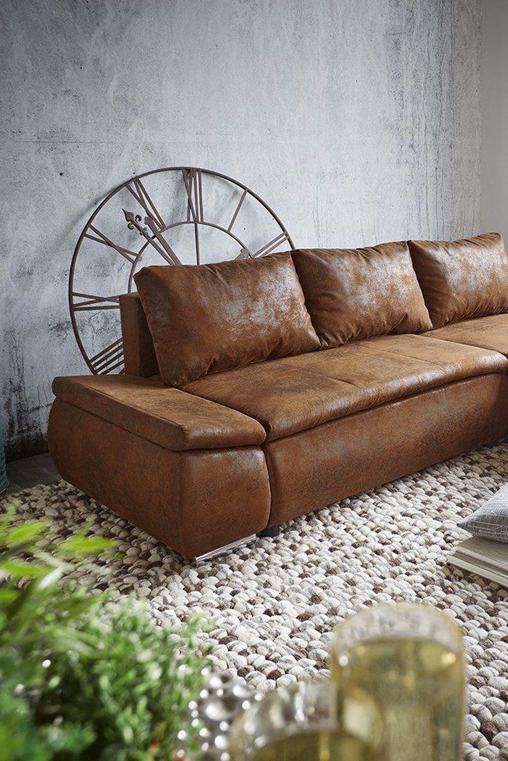 Stylische braune couch im antik rustikal look wohnzimmer for Raumgestaltung otto