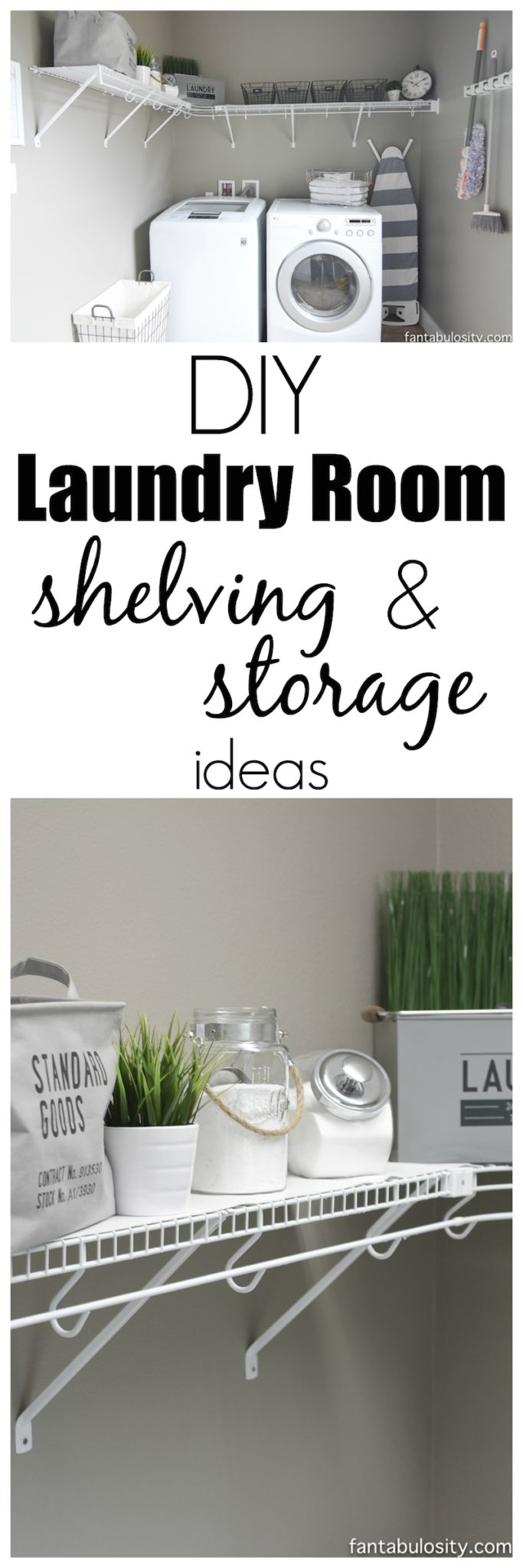 DIY Laundry room shelving and storage ideas, plus the links of where to buy most of this!