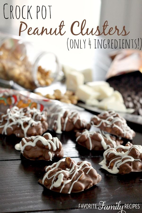 Easy Crock Pot Peanut Clusters - only 4 ingredients! from favfamilyrecipes.com #peanutcluster #homemadechocolates