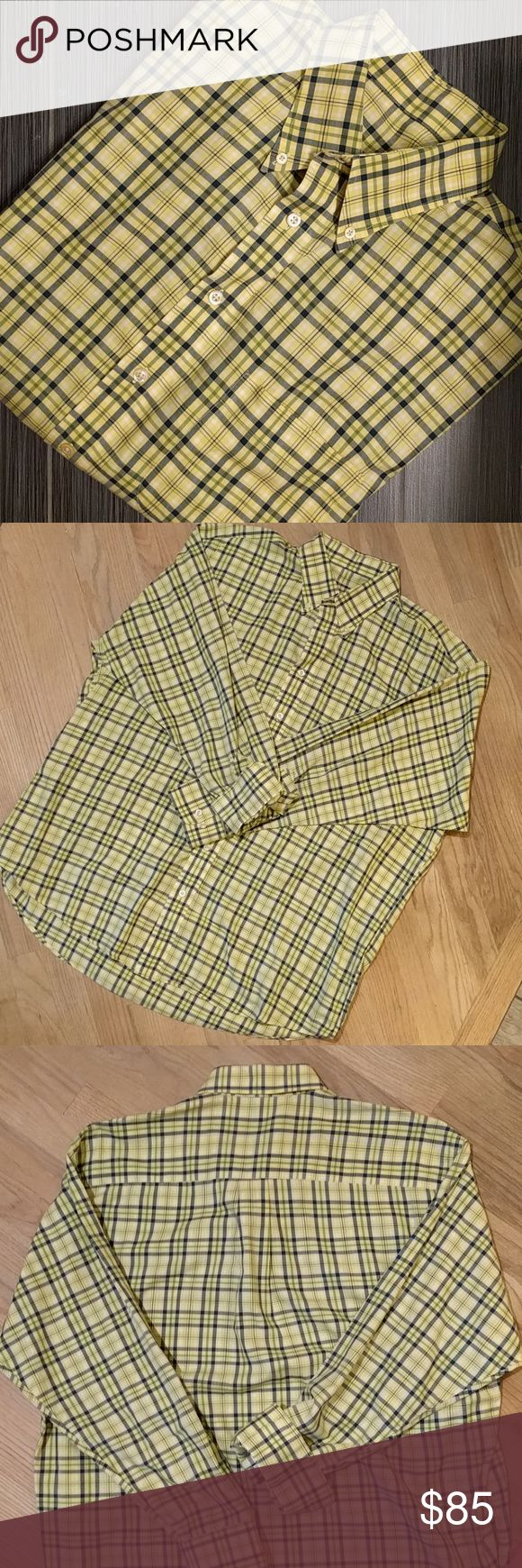 Burberry London// Preppy Yellow Plaid Button-down High quality, 100% cotton button-down shirt by London Burberry (made in USA). Button-down collar and one breast  pocket. Plaid pattern is yellow, navy, and white.   Perfect for work casual or date night casual! Classy, classic, and preppy fashion! (Last pic is a Burberry stock photo for style inspo!)  Size XL. See 2nd pic for measurements, created with Sizely. Burberry Shirts Casual Button Down Shirts