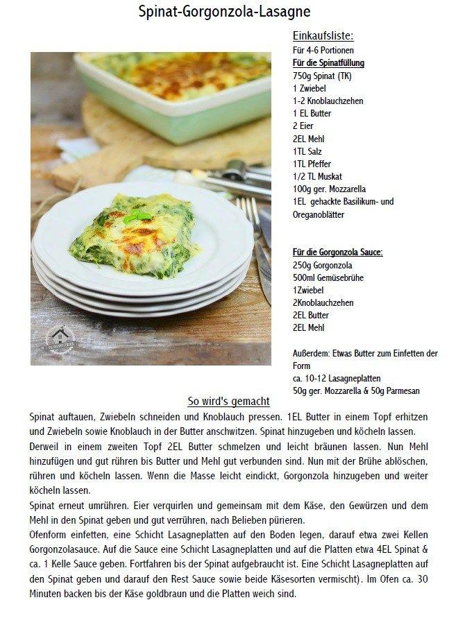 Spnat Lasagne mit Gorgonzola Rezept