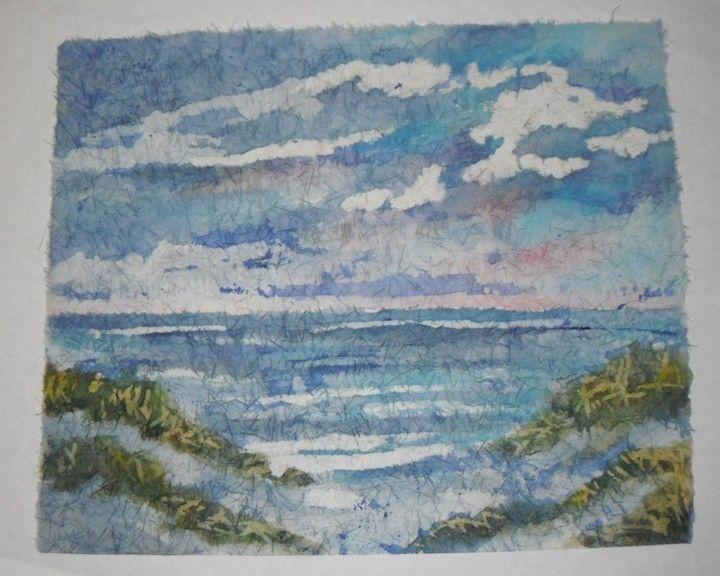 16 x 20 BATIK ORIGINAL SEASCAPE BATIK WATERCOLOR ART ON ...