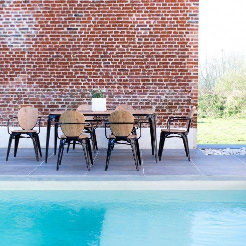 Outdoor Esstisch aus Metall und Weidenholz 170x90 Sam schwarz