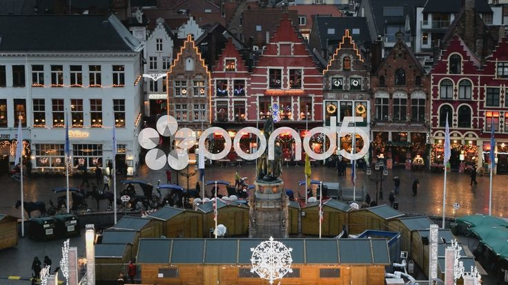 View from Belfry of Bruges. Markt Sq. Xmas market & restaurants. Bruges, Belgium - Stock Footage | by glenman77