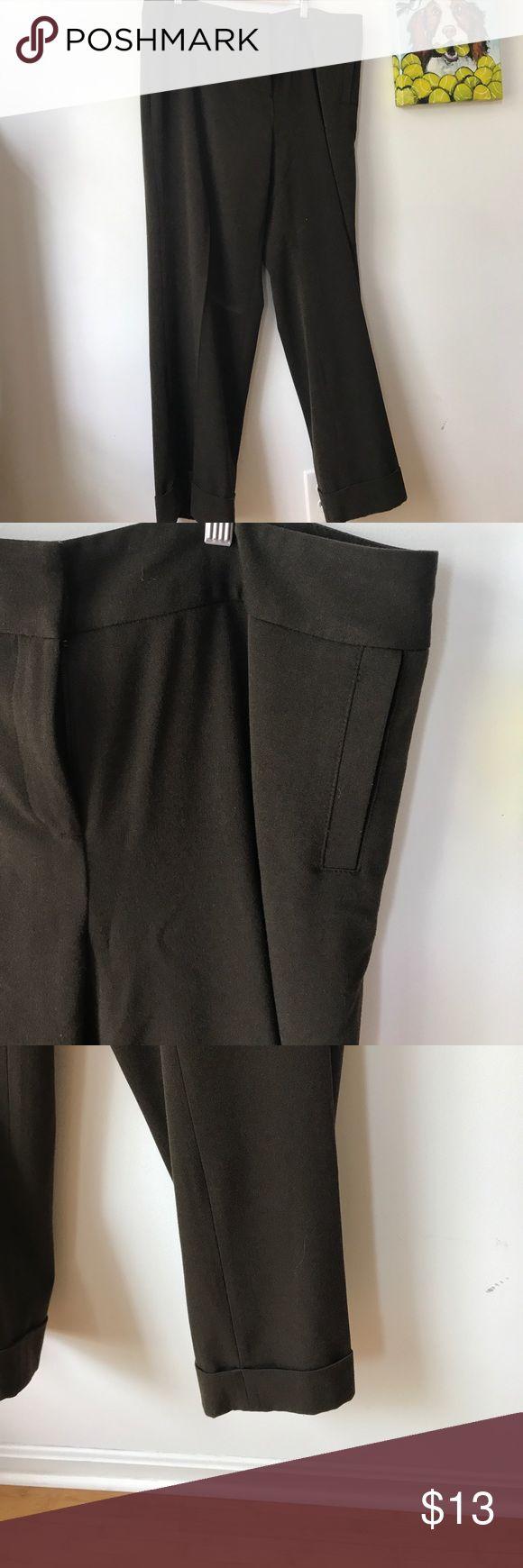 Rafaella Pants Brown Slacks Cuff Leg Medium Brown Slacks with cuffed ankles and straight cut pockets. Rafaella Pants Trousers