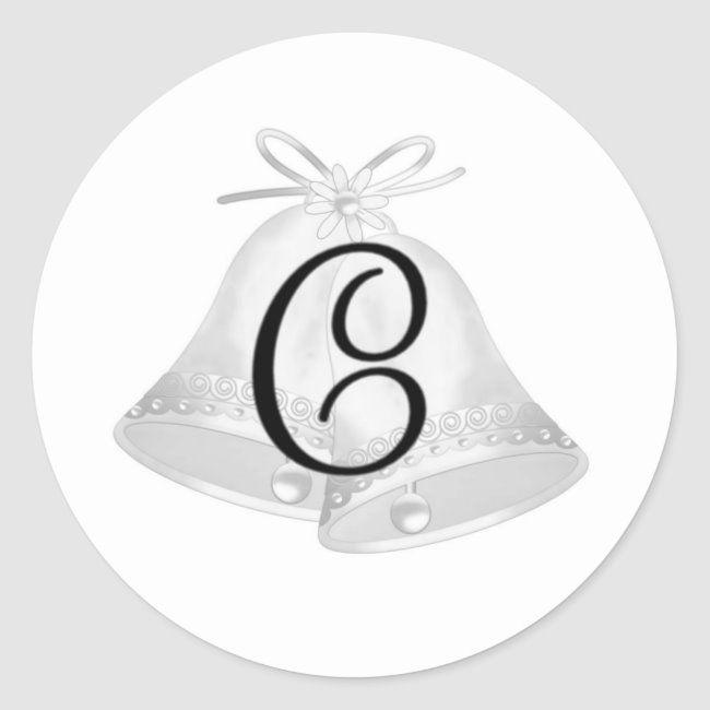 Wedding Bells Monogrammed Classic Round Sticker Zazzle Com In 2020 Wedding Shower Gift Wedding Bells Round Stickers