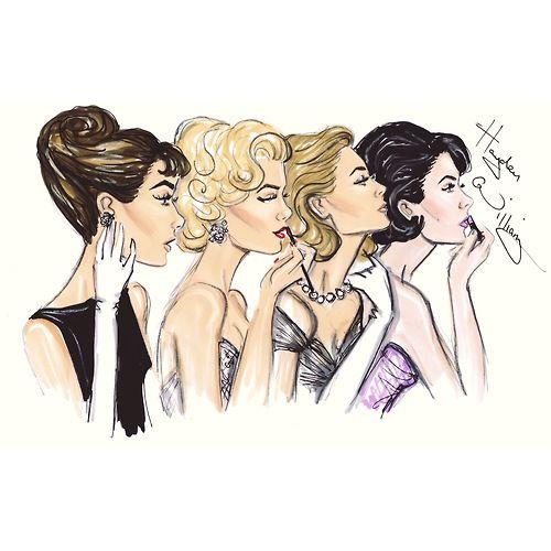 fashion illustration of Audrey Hepburn, Marilyn Monroe, Grace Kelly and Elizabeth Taylor