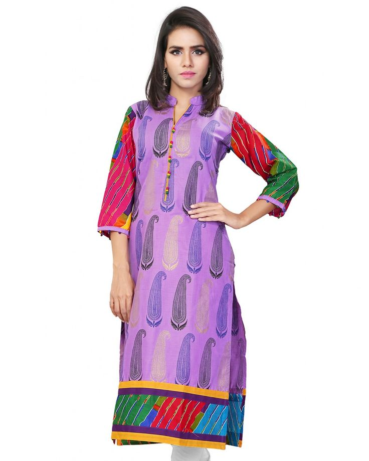 This is a casual wear long kurti made from multi color printed cotton fabric.  Size Guide:  S - 36 Inches(Bust).  M - 38 Inches(Bust).  L - 40 Inches(Bust