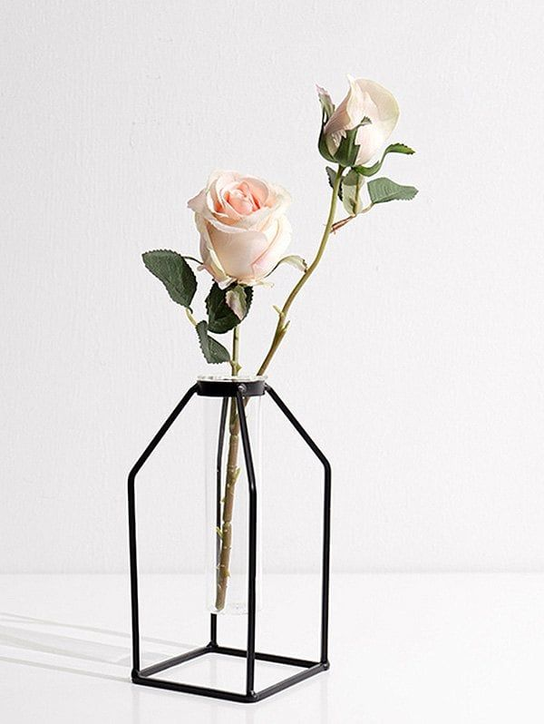 Home Decor Iron Geometric Flower Vase Holder Rack - BLACK  sc 1 st  Pinterest & Home Decor Iron Geometric Flower Vase Holder Rack - BLACK ...