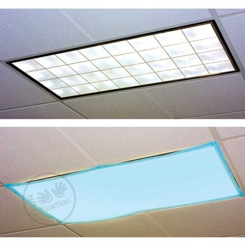 These Classroom Light Filters tame harsh fluorescent lights into lights with a calming blue hue.