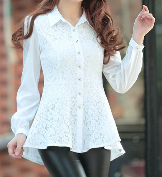 Shirt Collar Long Sleeves Lace Splicing Single Breasted Stylish Blouse For Women