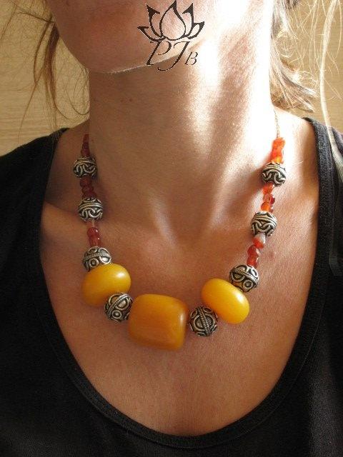 Nepal bakelite beads, indian silver, and cornaline by PadmaJewels, via Flickr