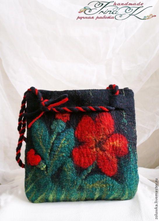 Купить Валяная сумочка Аленький цветочек - разноцветный, цветочный, сумка, сумак, сумку купить