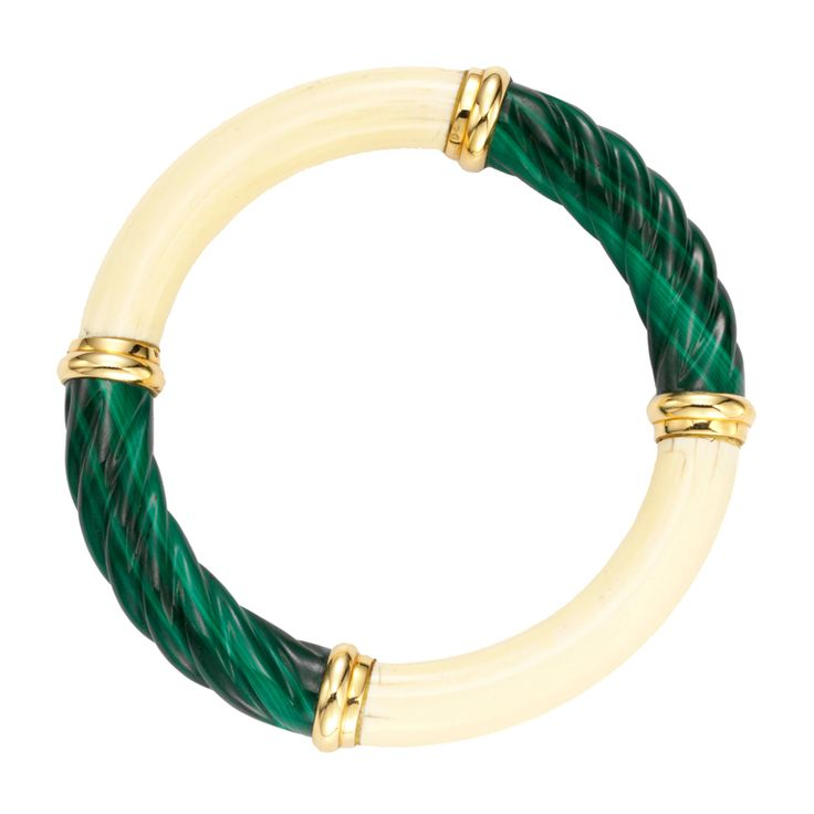 CARTIER A Malachite, Ivory and Gold Bangle | From a unique collection of vintage bangles at http://www.1stdibs.com/jewelry/bracelets/bangles/