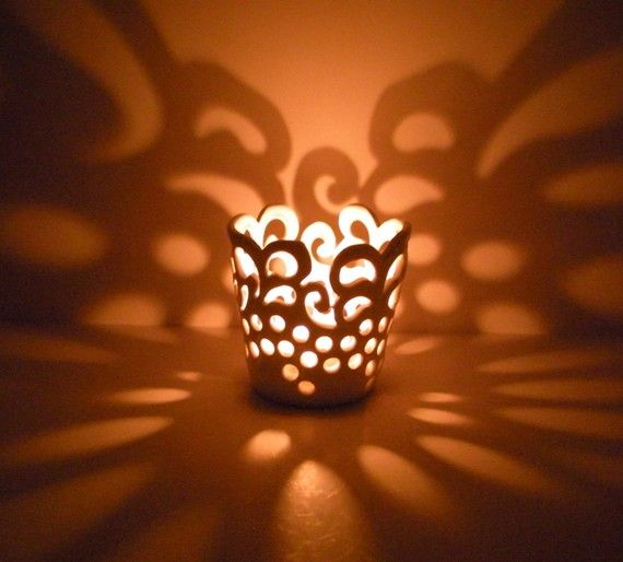 Hand Carved Lace Votive  Candle Holder  Tea Light by AngelaIngram, $19.00