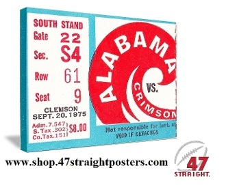New! Alabama Football Art. 1975 Clemson vs. Alabama. Bear Bryant's Alabama team won 56-0 in Tuscaloosa on their way to 11 straight wins. #47straight #Alabamafootball #collegefootball  Best Fathers Day Gifts for sports fans, Alabama football tickets, Mobile gift shopping Fathers Day, best football gifts for Dad, game room art, Best Fathers Day Gifts 2013, 1975 Alabama football
