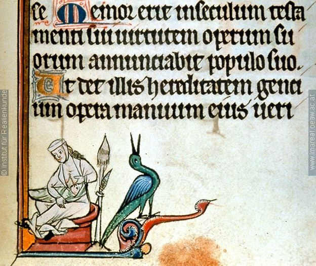 Illustrations on fols. 153r and 179r of a psalter (ÖNB 1898), c. 1265-1275 - breastfeeding mama w/distaff and spindle