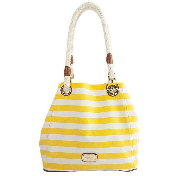 Michael Kors Marina Large Grab Bag Citrus White Striped Canvas ❤ liked on Polyvore featuring bags, handbags, handbag purse, white purse, stripe purse, canvas handbags purses and stripe handbag