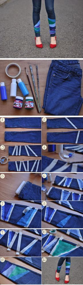 Fancify Some Jeans with Masking Tape | Click Pic for 25 Simple Life Hacks Every Girl Should Know | DIY Clothing Refashion Ideas