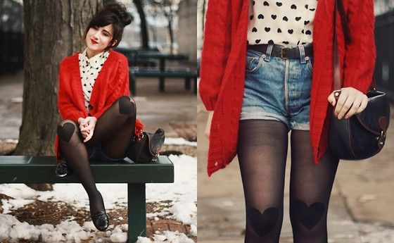 Bonnie Barton - Modcloth Tights, Sweater - Hearts on Hearts