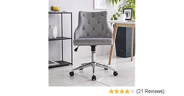 Hironpal Grey Crushed Velvet Fabric Home Office Chair Swivel High Adjustable Computer Desk Chairs Gra In 2020 Home Office Computer Desk Home Office Chairs Office Chair